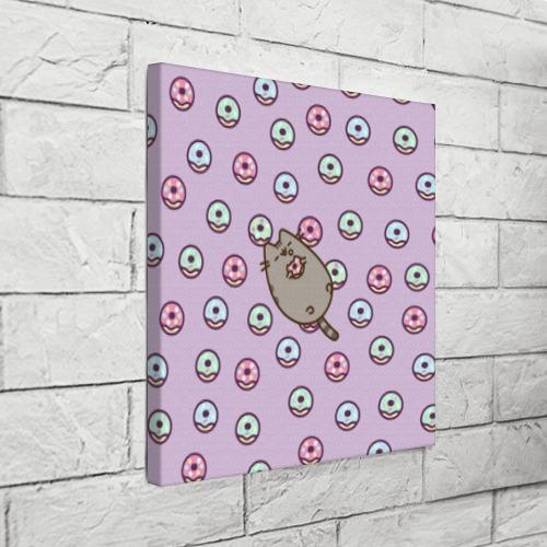 Холст квадратный Pusheen с пончиками Фото 01