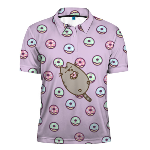 Мужская рубашка поло 3D Pusheen с пончиками
