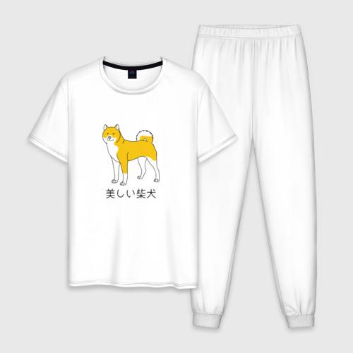 Мужская пижама хлопок Shiba Dog Фото 01