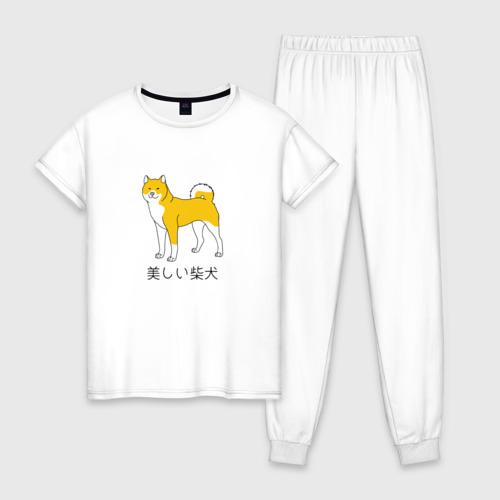 Женская пижама хлопок Shiba Dog Фото 01