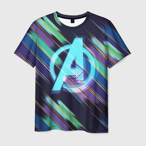 Мужская футболка 3D Avengers logo with stripes
