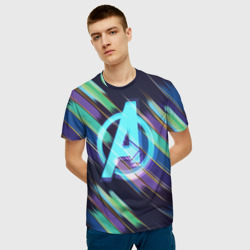 Avengers logo with stripes
