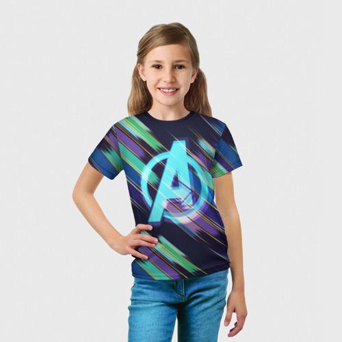 Детская футболка 3D  Фото 03, Avengers logo with stripes
