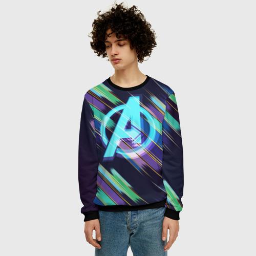 Мужской свитшот 3D Avengers logo with stripes Фото 01