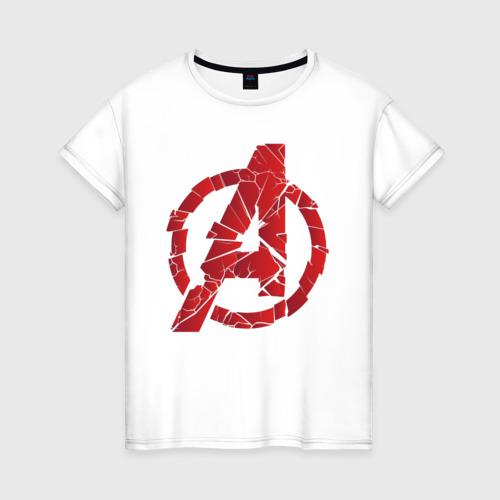 Женская футболка хлопок Avengers logo red