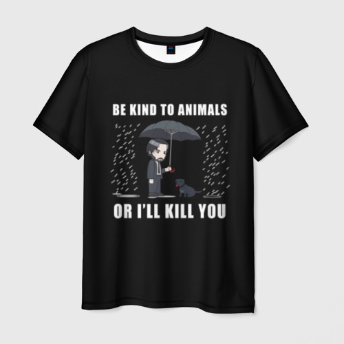 Мужская футболка 3D Be Kind to Animals Фото 01