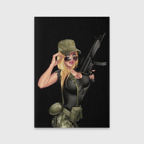 Обложка для паспорта матовая кожа Sexy army girl Фото 01