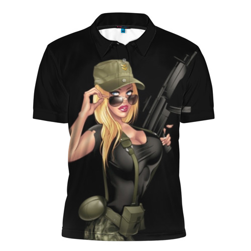 Мужская рубашка поло 3D Sexy army girl