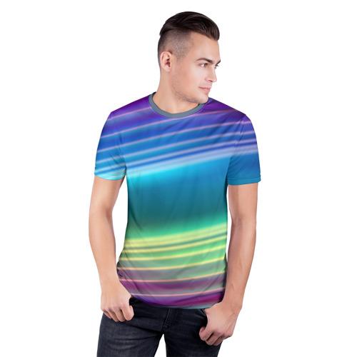 Мужская футболка 3D спортивная Neon lines Фото 01