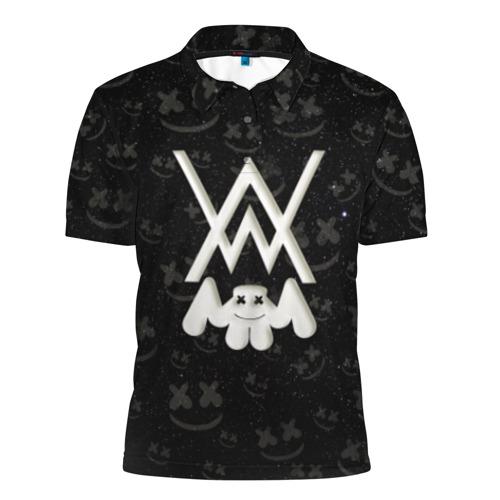Мужская рубашка поло 3D Alan Walker & Marshmello