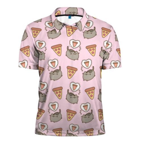 Мужская рубашка поло 3D Pusheen пицца