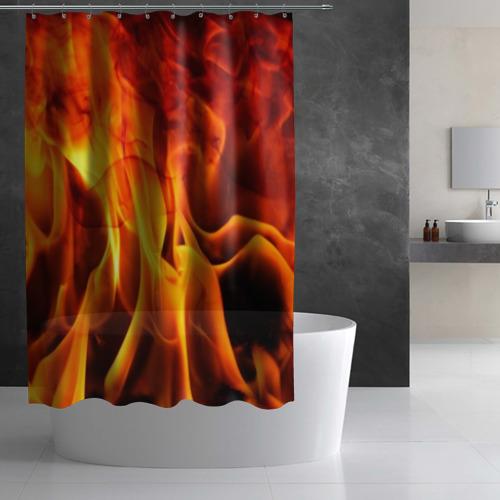 Штора 3D для ванной Огонь и дым Фото 01