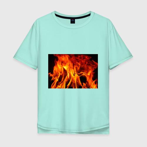 Мужская футболка хлопок Oversize Огонь и дым Фото 01