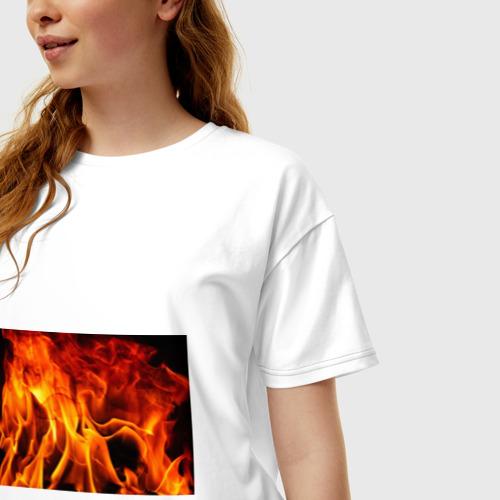 Женская футболка хлопок Oversize Огонь и дым Фото 01