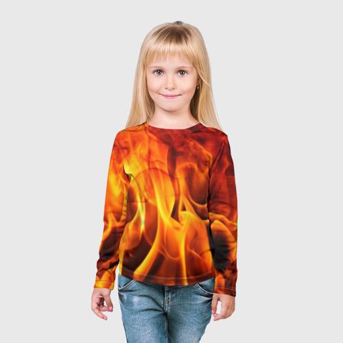 Детский лонгслив 3D Огонь и дым Фото 01
