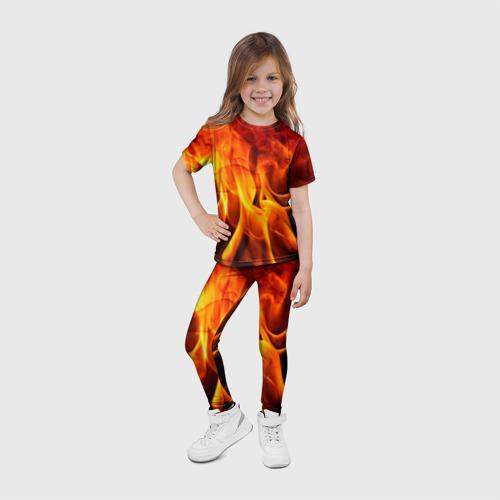 Детские леггинсы 3D Огонь и дым Фото 01