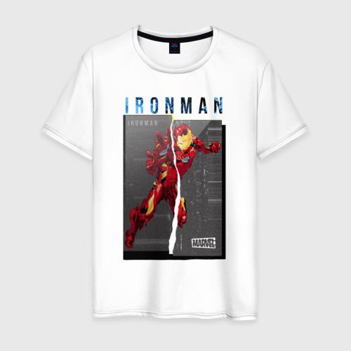 Мужская футболка хлопок Iron Man glitch