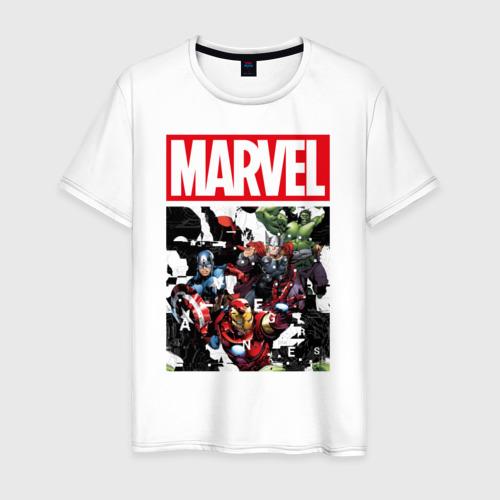 Мужская футболка хлопок Avengers glitch