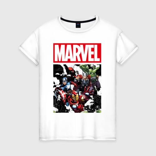 Женская футболка хлопок Avengers glitch