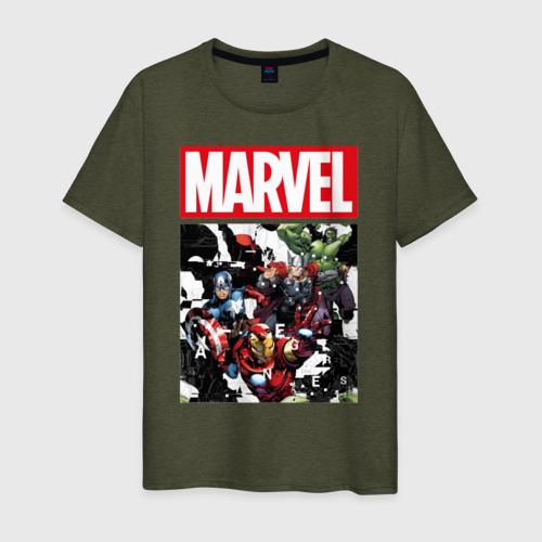 Мужская футболка хлопок Avengers glitch Фото 01