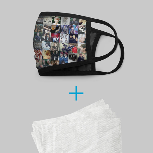 Маска защитная (+5 фильтров) BTS Collage Фото 01