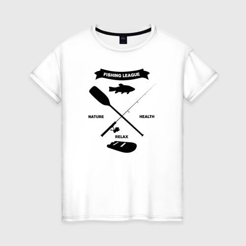 Женская футболка хлопок лига рыбалки