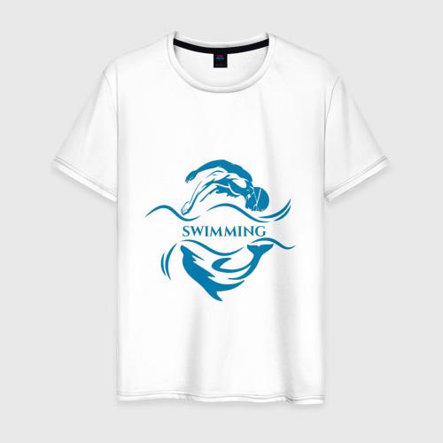 Мужская футболка хлопок Плавание