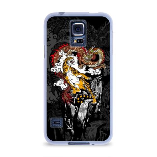 Чехол для Samsung Galaxy S5 силиконовый  Фото 01, Тигр и дракон