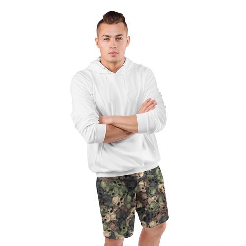 Мужские шорты спортивные Камуфляж с черепами Фото 01