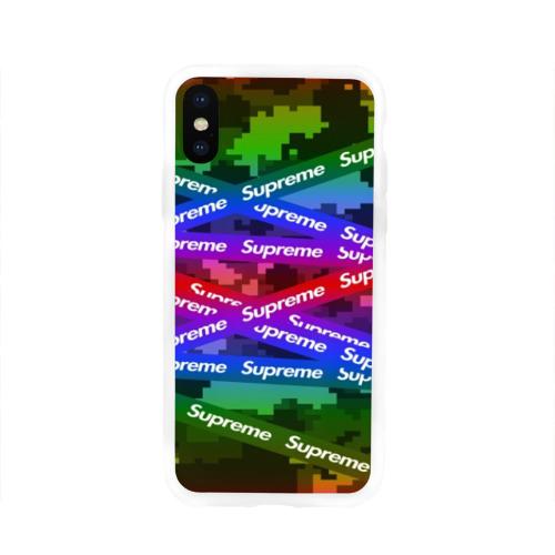 Чехол для Apple iPhone X силиконовый глянцевый Supreme NEON Фото 01