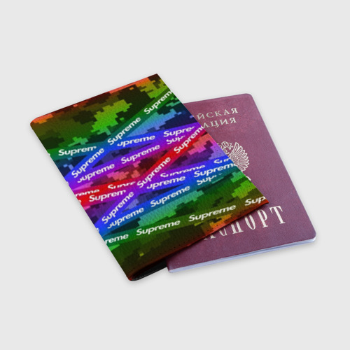 Обложка для паспорта матовая кожа Supreme NEON Фото 01