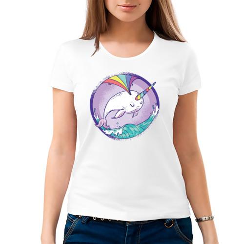Женская футболка хлопок  Фото 03, Нарвал