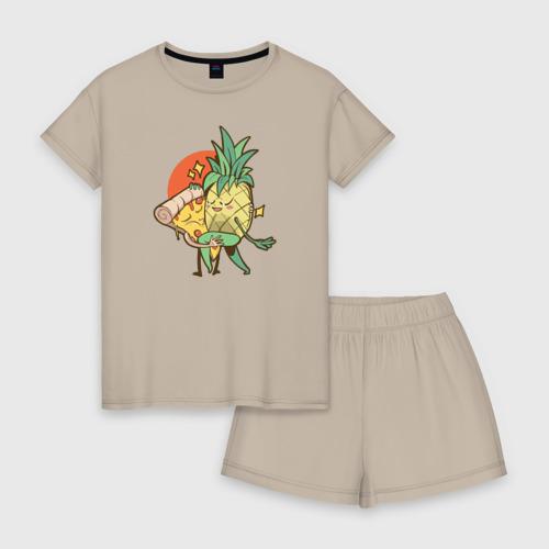 Женская пижама с шортиками хлопок Пицца и Ананас Фото 01