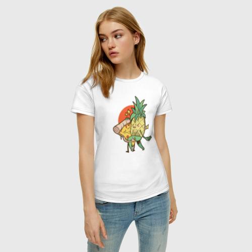 Женская футболка хлопок Пицца и Ананас Фото 01