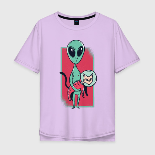 Мужская футболка хлопок Oversize Пришелец с Котом Фото 01