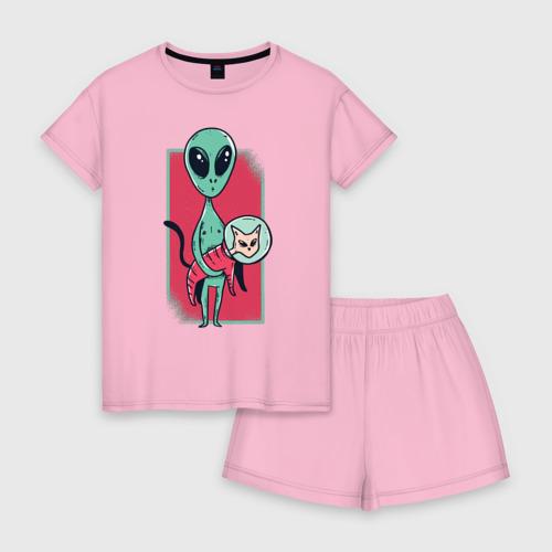 Женская пижама с шортиками хлопок Пришелец с Котом Фото 01