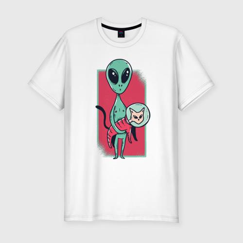Мужская футболка хлопок Slim Пришелец с Котом Фото 01