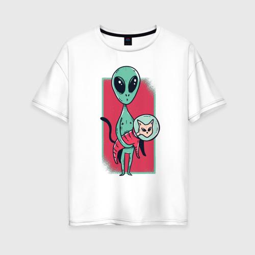 Женская футболка хлопок Oversize Пришелец с Котом Фото 01