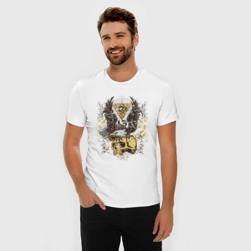 Мужская футболка хлопок Slim Орел на черепе Фото 01