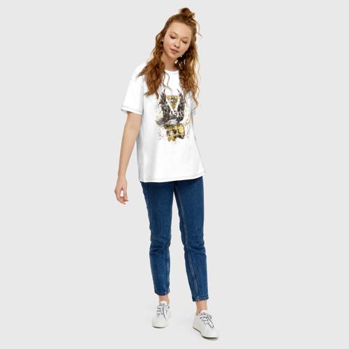 Женская футболка хлопок Oversize Орел на черепе Фото 01