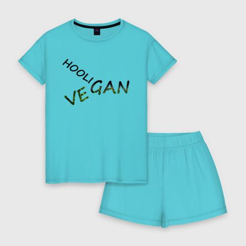 Женская пижама с шортиками хлопок Vegan hooligan Фото 01