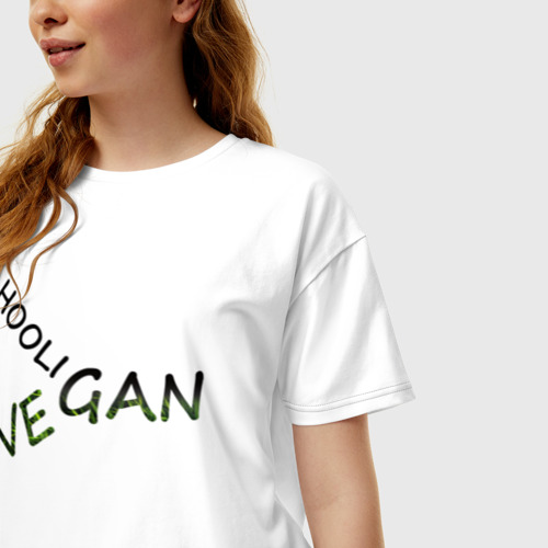 Женская футболка хлопок Oversize Vegan hooligan Фото 01