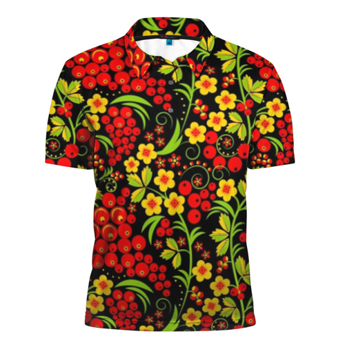 Мужская рубашка поло 3D Хохлома