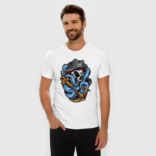 Мужская футболка хлопок Slim Череп с Осьминогом Фото 01