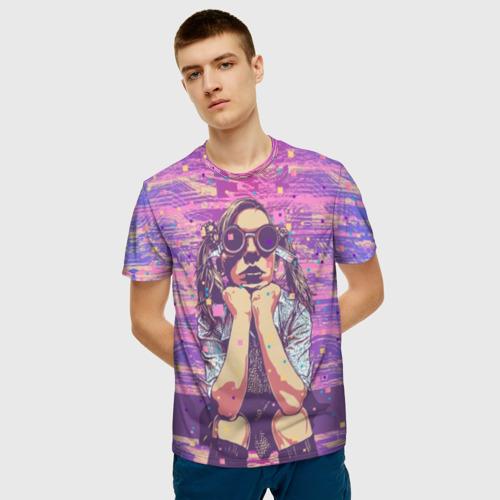 Мужская футболка 3D Девушка в очках за  1025 рублей в интернет магазине Принт виды с разных сторон