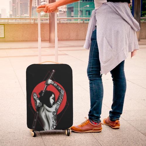 Чехол для чемодана 3D Девушка с мечом Фото 01