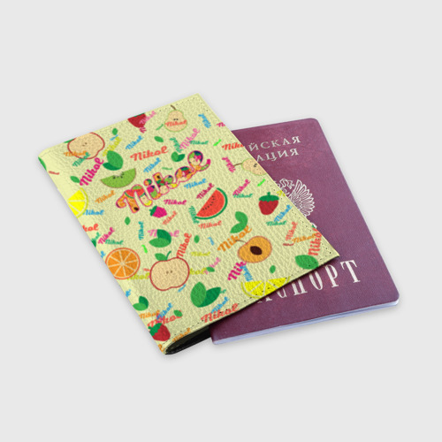 Обложка для паспорта матовая кожа Nikol Fruits boom! Фото 01