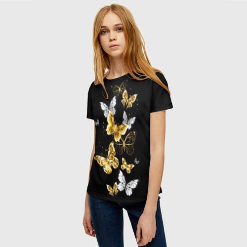 Женская футболка 3D Золотые бабочки Фото 01