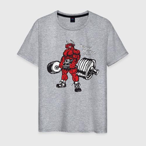 Мужская футболка хлопок Бодибилдинг Бык Становая HMGYM Фото 01