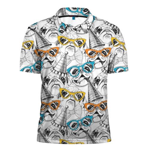 Мужская рубашка поло 3D Праздничные мопсы